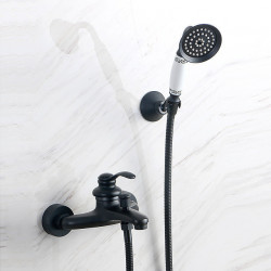 Shower Faucet Set - Handshower Included pullout Multi Spray Shower Vintage Style,Country Antique Brass Mount Outside Ceramic...