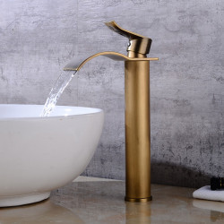 Bathroom Sink Faucet -Classic Waterfall Antique Copper Centerset Single Handle One HoleBath Faucet