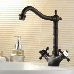 Victoria Rotatable,Standard Oil-rubbed Bronze Deck Mounted One Hole,Two Handles One HoleBath Faucet