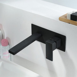 Bathroom Sink Faucet - Widespread Black Other Single Handle One HoleBath Faucet