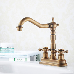 Victoria Rotatable Antique Brass Deck Mounted Centerset Faucet Two Holes,Two Handles Two Holes Bath Faucet-Bathroom Sink Faucet