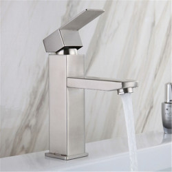 Stainless steel washbasin faucet hot and cold drawing square single hole washbasin mixing faucet