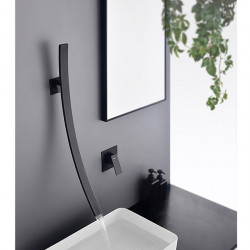 Designer Collection Bathroom Sink Faucet- Waterfall Black Other Single Handle Two Holes Bath Faucet