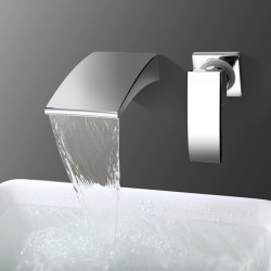 Bathroom Sink Faucet - Waterfall Chrome Wall Mounted Single Handle Two Holes Bath Faucet