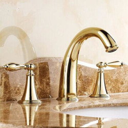 Bathroom sink faucet-hot and cold split three-hole,two-handle three-hole bathroom faucet