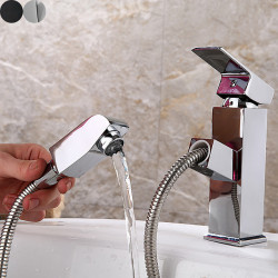 Bathroom Sink Faucet - Pull out Electroplated Centerset Single Handle One HoleBath Faucet