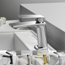 Single HandleBathroomFaucet,Electroplated,Brushed One Hole Centerset,Brass Vessel Bathroom SinkFaucet Contain with Cot and...
