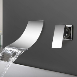 Bathroom Sink Faucet - Waterfall Chrome Wall Mounted Two Holes,Single Handle Two Holes Bath Faucet