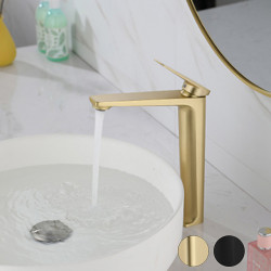 Bathroom Sink Faucet - Contemporary Basin Faucet Centerset Single Handle One HoleBath Faucet Beck Mounted Black,Brushed Gold...