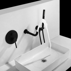 Bathroom Sink Faucet - FaucetSet,Wall Mount Painted Finishes Wall Mounted Two Handles Three Holes Bath Faucet