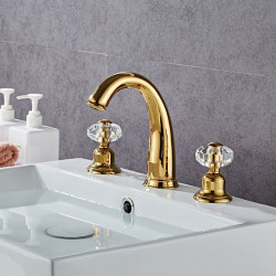Bathroom Sink Faucet - Widespread Electroplated Modern Golden faucet crystal ball handle Three Holes Bath Faucet