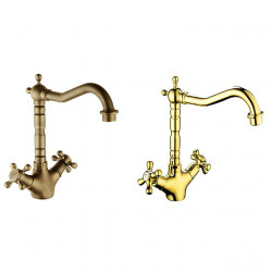 Bathroom Sink Faucet,Faucet Set - Rotatable Antique Copper,Gold,Rose Gold Other Two Handles One HoleBath Faucet