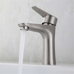 Stainless steel single hole washbasin faucet