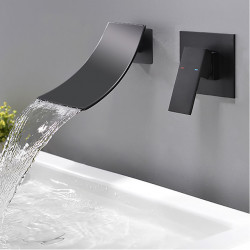 Bathroom Sink Faucet - Wall Mount,Waterfall Black Wall Mounted Single Handle Two Holes Bath Faucet,Brass