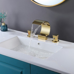 bathroom sink faucet - waterfall,high arc c-shape electroplated golden finished contemporary widespread two handles three holes...