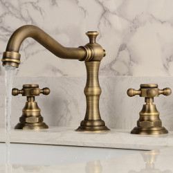 Two HandlesBathroomFaucet,Antique Brass Three Holes Widespread,Centerset Bath Faucet,Brass BathroomSinkFaucet Contain...