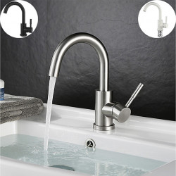 Bathroom Sink Faucet - FaucetSet Brushed,Painted Finishes Free Standing Single Handle One HoleBath Faucet