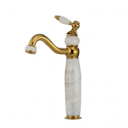 Bathroom Sink Faucet Ultra Faucets Euro Collection Gold with Stone Single Handle - One Hole Tall Body Deck Mount Lavatory...