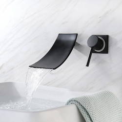 Bathroom Sink Faucet - Waterfall,Premium Design Painted Finishes,Black Wall Mounted Single Handle Two Holes Bath Faucet
