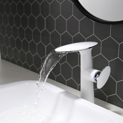 Bathroom Sink Faucet - White and Chrome Vanity High Waterfall Basin Faucet Hotel,Home Shower Room Centerset Single Handle One...