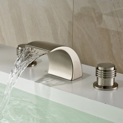 Bathroom Sink Faucet - Widespread,Waterfall Nickel Brushed Deck Mounted Two Handles Three Holes Bath Faucet