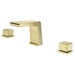 Bathroom Sink Faucet - Waterfall Electroplated Widespread Two Handles Three Holes Bath Faucet
