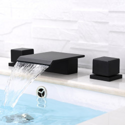 Bathroom Sink Faucet - Waterfall,Widespread Black Deck Mounted Two Handles Three Holes Bath Faucet