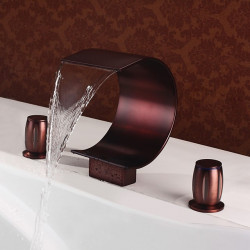 Bathroom Sink Faucet - Waterfall Oil-rubbed Bronze Widespread Two Handles Three Holes Bath Faucet,Brass