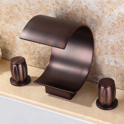 Bathroom Sink Faucet - Waterfall,Widespread Oil-rubbed Bronze Widespread Two Handles Three Holes Bath Faucet