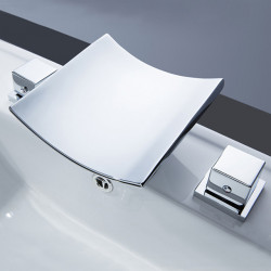 Bathroom Sink Faucet - Waterfall,Widespread,LED Chrome Widespread Two Handles Three Holes Bath Faucet