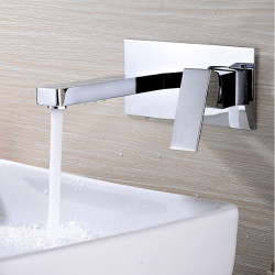 Bathroom Sink Faucet - Widespread,Design Chrome Wall Mounted Single Handle Two Holes Bath Faucet
