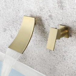 Bathroom Sink Faucet - Waterfall Brushed Gold Wall Mounted Single Handle Two Holes Bath Faucet
