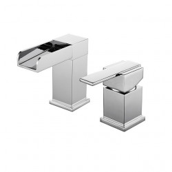 Bathroom Sink Faucet - Waterfall Chrome Widespread Single Handle Two Holes Bath Faucet