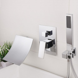 Bathroom Sink Faucet - Wall Mount,Waterfall,Widespread Chrome,Electroplated Widespread Single Handle Three Holes Bath Faucet