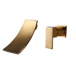 Bathroom Sink Faucet - Waterfall,Widespread,Premium Design Brushed Wall Mounted Single Handle Two Holes Bath Faucet