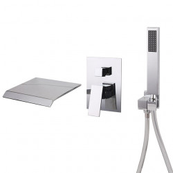 Bathroom Sink Faucet - Wall Mount,Waterfall,Widespread Chrome Widespread Single Handle Three Holes Bath Faucet
