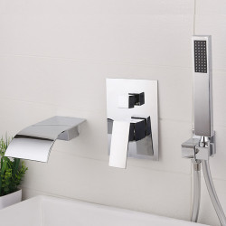 Bathroom Sink Faucet - Wall Mount,Widespread Electroplated Widespread Single Handle Three Holes Bath Faucet