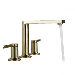 Bathroom Sink Faucet - Widespread Brushed Gold Finish Dual Handles Three Holes Basin Sink Mixer Faucet Washroom Faucet Luxury
