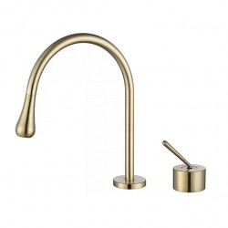 Bathroom Sink Faucet - Brushed Gold Single Handle Two Holes Basin Sink Mixer Faucet Lavatory Luxury Faucet