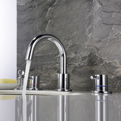 Bathroom Sink Faucet - Widespread Chrome,Nickel Brushed Finish Dual Levers Bath Basin Faucet Hot and Cold Water Mixer Faucet