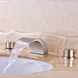 Bathroom Sink Faucet - LED,Widespread,Waterfall Nickel Brushed Deck Mounted Two Handles Three Holes Bath Faucet