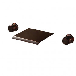 Bathroom Sink Faucet - Wall Mount,Waterfall Oil-rubbed Bronze Wall Mounted Two Handles Three Holes Bath Faucet