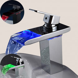 Sink Faucets Brass Bathroom Faucet Contemporary with LED Chrome Contain with Cold and Hot Water
