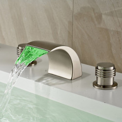 Contemporary,Art Deco,Retro,Modern Widespread LED,Waterfall,Widespread with Ceramic Valve Two Handles Three Holes for Nickel