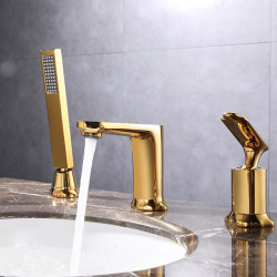 Bathroom Sink Faucet - Pullout Spray,Widespread Chrome,Electroplated Widespread Single Handle Three Holes Bath Faucet