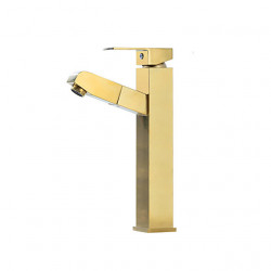 Bathroom Sink Faucet - Pullout Spray Brushed Gold Centerset Single Handle One HoleBath Faucet