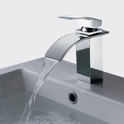 Single HandleBathroomFaucet,Chrome OneHole Waterfall Bathtub Faucet, Brass Contemporary Bathroom SinkFaucet Contain with...