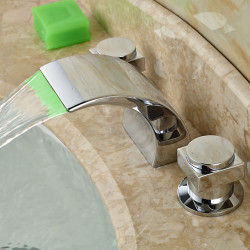 Bathroom Sink Faucet - LED,Widespread,Waterfall Chrome Deck Mounted Two Handles Three Holes Bath Faucet,Faucet...
