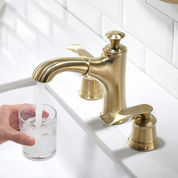 Bathroom Sink Faucet - Pullout Spray Brushed Gold Widespread Two Handles Three Holes Bath Faucet