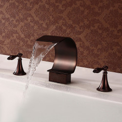 Bathroom Sink Faucet - Waterfall Oil-rubbed Bronze Widespread Two Handles Three Holes Bath Faucet